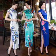 Long cheongsam 2017 new spring and autumn loaded with a double layer of silk wedding banquet etiquette etiquette dress