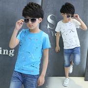 The child children's summer 2017 new boy short suit thin jeans in cotton T-shirt two piece tide