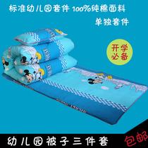 幼儿园纯棉被子垫套三件套夏季床被 全棉被褥幼儿童床品宝宝婴儿