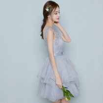 @@ Grey short skirt Bridesmaid Dress Company Annual Meeting small evening dress Female Sister group host 2018 new style