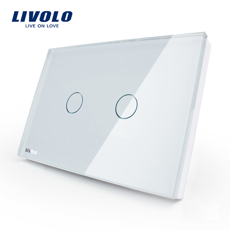 [The goods stop production and no stock]Livolo switch 118 touch switch smart home products / rectangular C8 white touch single control two open