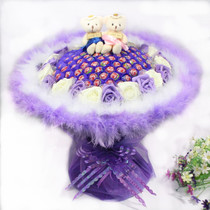 Lollipop bouquet 99 candy super-sized bear bouquets to give men and women birthday gifts on Valentines Day
