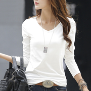 Pure spring made V collar white Long Sleeve T-Shirt cotton dress shirt T-shirt all-match simple slim jacket.