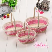 Handmade rattan woven wedding supplies wedding petal basket dance packaging portable high-end flower girl Flower Basket