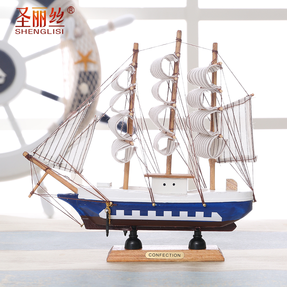 Sailing Model Sailing Ship Model Mediterranean Style Decoration Arrangement Simulated Small Gift Model of Wooden Ship