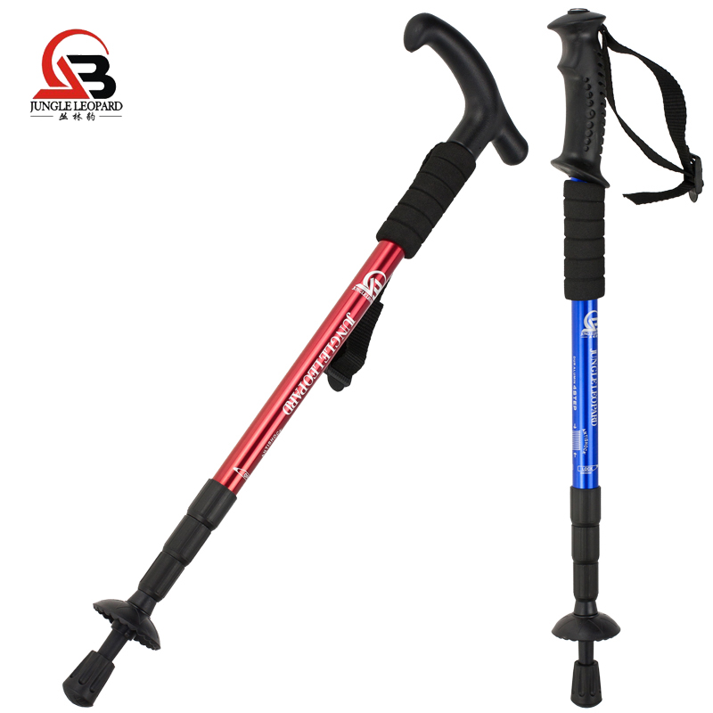 Jungle Leopard Outdoor climbing cane aluminum alloy telescopic cane climbing equipment walking climbing crutches