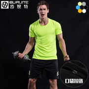 Sports suit men's summer short sleeved running clothes fast dry fitness T-shirt five minutes shorts shorts sportswear