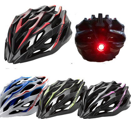 Moon MV-37 Iron Man Mountain Bike Integrated Formed Riding Helmet Ultra-Light Safety Hat with Helmet Lamp