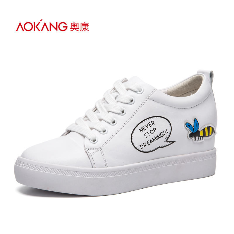 Aokang women's shoes autumn fashion round-headed lace leisure shoes English bee single shoes