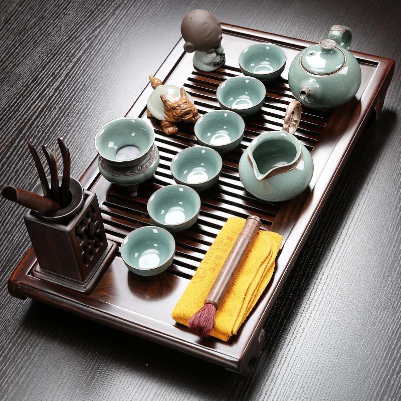 Yande complete set of ebony solid wood tea plate home purple sand brother kiln kung fu tea set simple living room small tea table set