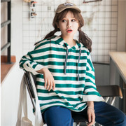 Hoodies female hooded stripe loose all-match Korean Harajuku BF wind in summer seven thin coat sleeve students