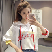 Summer new letters embroidered Hoodie sleeve head female loose irregular BF thin coat coat students tide