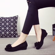 The fall of new old Beijing shoes shoes black frock shoes bow dance shoes with slope comfortable shoes