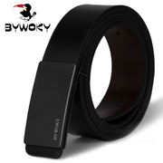 BYWOKY men's leather belt belt buckle belt smooth business Metrosexual leisure Korean male youth