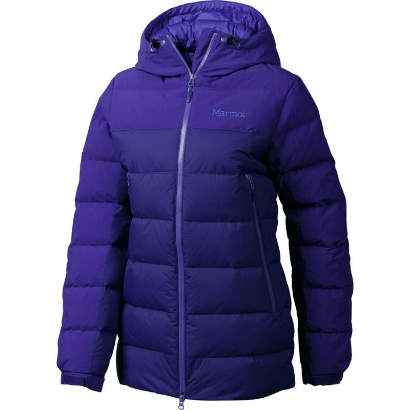 [The goods stop production and no stock]American direct mail MARMOT / Ma Moshan B5053T winter warm solid color horizontal line hooded down jacket women
