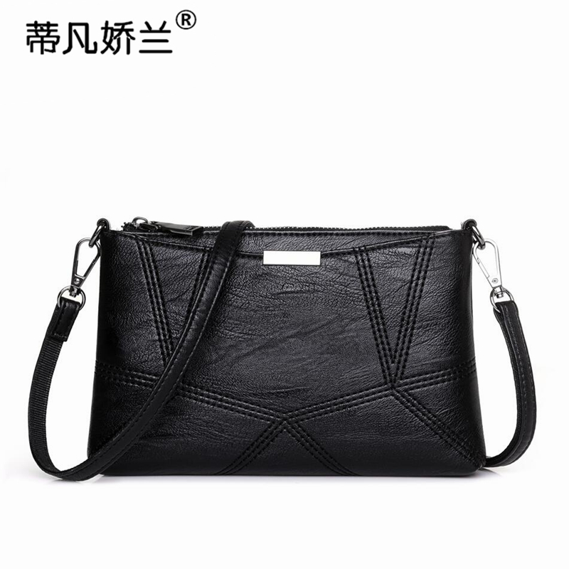 Bag 2018 new simple middle-aged small bag soft leather embroidery line ladies shoulder bag mother bag change clutch bag