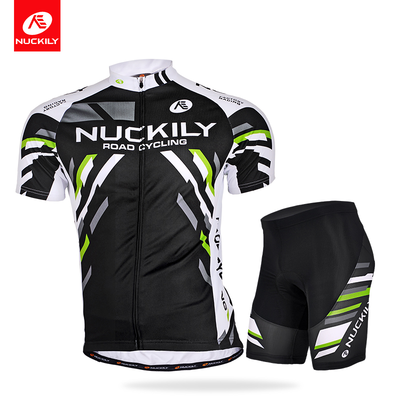 NUCKILY Summer Mountain Bike Air-breathable Short-sleeved Cycling Suit Men's Outdoor Sports Top Pants
