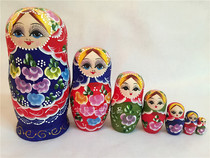 Seven-layer Blue Flower Belly Russian Doll Wooden Toy Craft Gift for Birthday