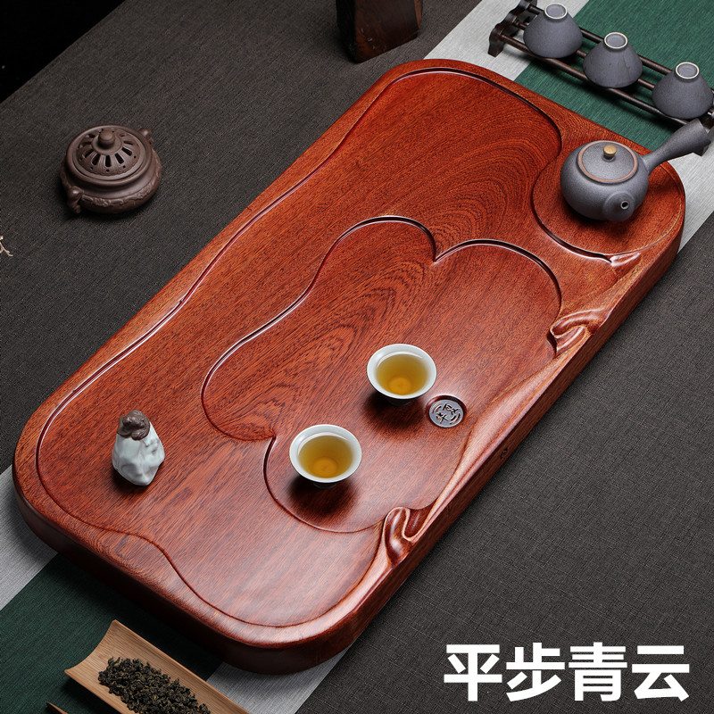 Direct sales of the whole piece of pear wood tea plate solid wood home simple rectangular tea table size kungfu tea set