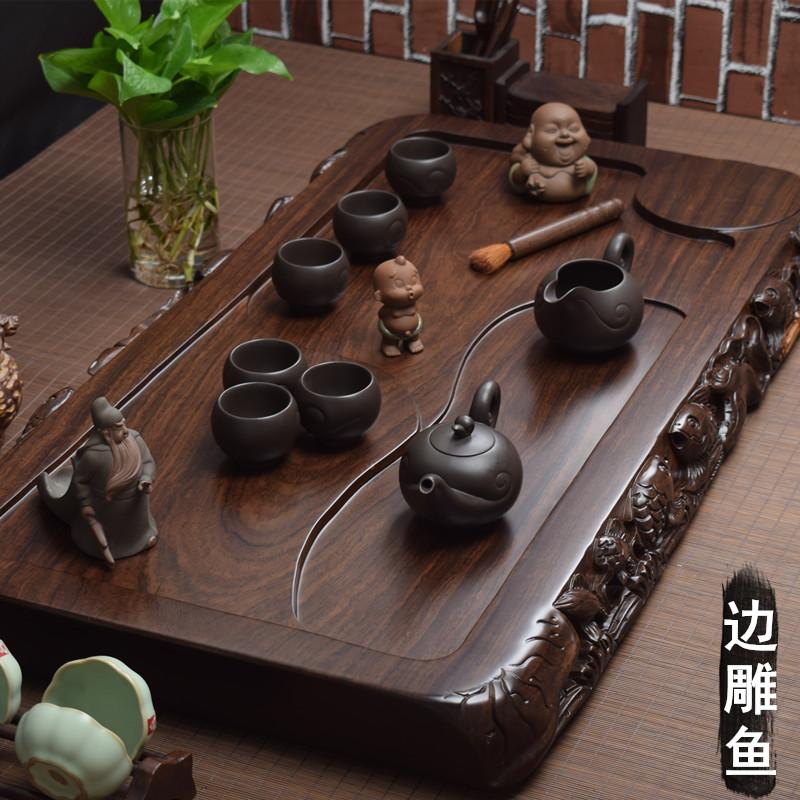 The whole ebony tea plate solid wood log household tea table large mahogany tea sea simple drainage kung fu tea set