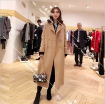 French purchasing Maje 18 autumn winter commuter belt in a long coat wool coat H18geola