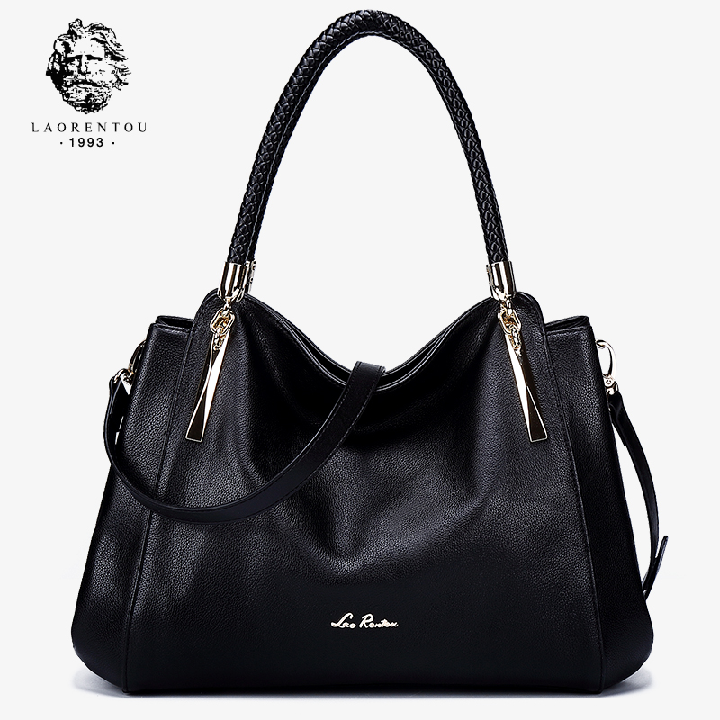 Old man head leather handbag 2018 new European and American fashion first layer leather slung shoulder shoulder portable mother bag female Old man head leather handbag 2018 new European and American fashion first layer leather slung shoulder shoulder portable mother bag female