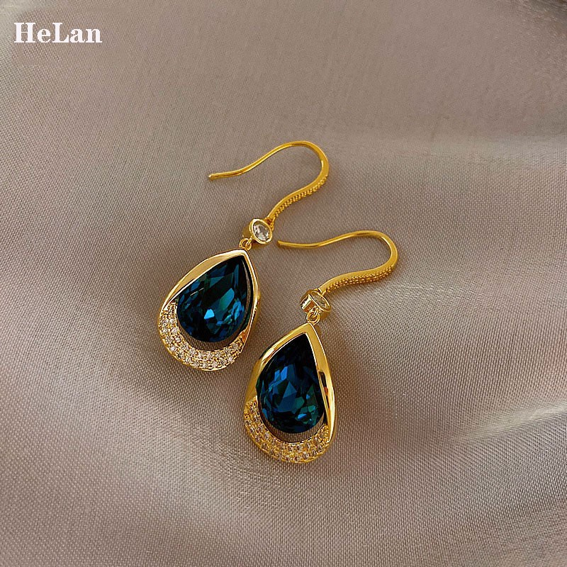 Blue crystal drop pure silver earrings 2021 new trendy Korean temperament net red high-class atmospheric French earrings