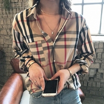 European Station striped plaid shirt female spring dress new retro temperament light cooked long-sleeved blouse loose port flavor casual