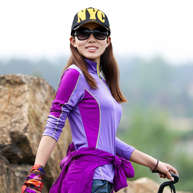 Outdoor long-sleeved T-shirt female models quick-drying clothes stand collar breathable quick-drying clothes hiking mountaineering clothing sports shirt summer