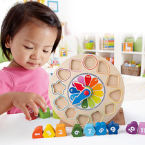 Hape Block clock children cognitive toy baby 1-3 years old digital puzzle learning recognition Time Wood