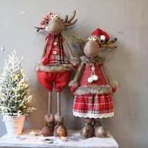 Yimo Christmas cute creative elk snowman elderly retractable front desk doll ornaments Christmas tree decorations