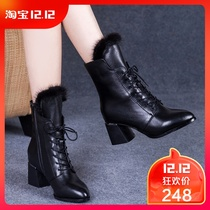 2018 new autumn and winter thick with Martin boots women high heel lace boots women with leather shoes and cashmere boots