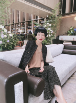 Aunt Xiong niche design classic European imported black gold tweed small fragrant wind jacket