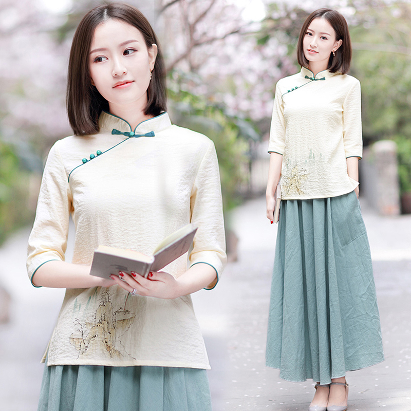 Literary and art retro republic of China Tang dress Chinese style womens tea dress womens suit Zen Zen Han clothing summer Chinese top