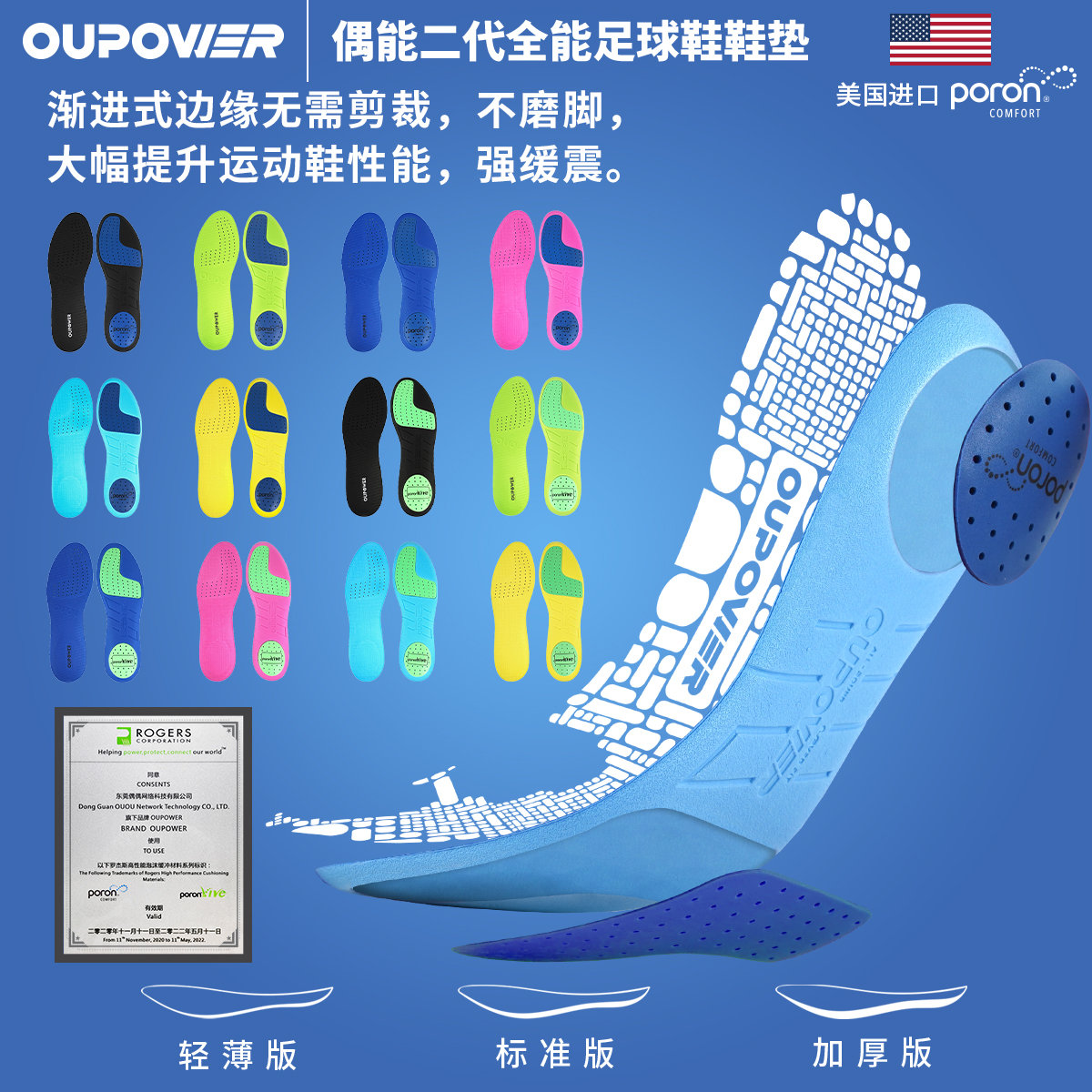 Occasional second-generation professional football insole poron shock-absorbing anti-slip wear and odor-proof all-around sneaker pad