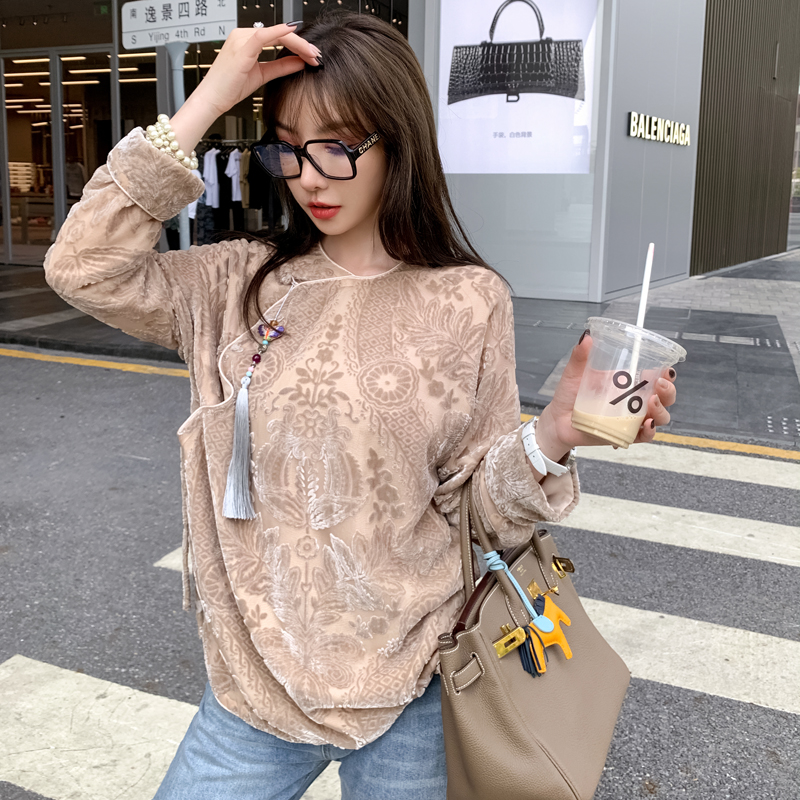 New Chinese style traditional tang dress vintage Chinese style silk velvet disc buckle modified cheongsam top women 2021 spring new