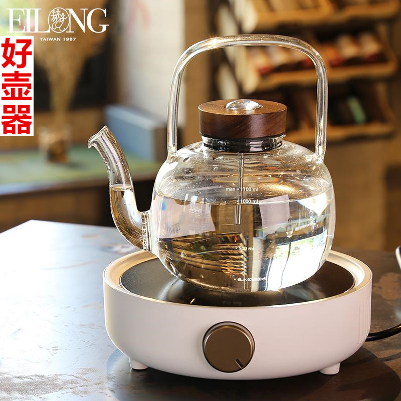 Yilong black crystal oven tea stove kettle to catch the temperature heat-resistant titti glass tea steamer home set
