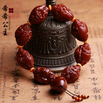 Yuhua olive core eight God of wealth Hand string Olive Hu core carved Buddha beads bracelet Men and women text play machine brush Su Gong hand-made