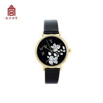 (Запретный город Taobao)черный лаковый шнур Tan цветок птицы мать инкрустированные часы
