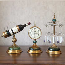 American Creative Alloy red wine rack red wine cup hanger alloy clock European living room Xuan Guan wine cabinet decoration