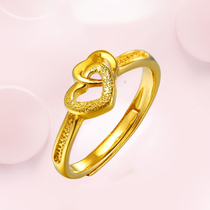 Authentic 24k gold ring lady 999 foot gold 3d hard gold new love flower ring to send girlfriend