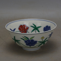 Daming Chenghua blue and white bucket color okra pattern porcelain bowl imitation unearthed official kiln ancient porcelain hand-made antique collection ornaments