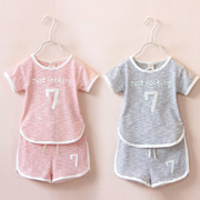 Every day's special offer for boys and Girls Summer 2017 new Korean Short Sleeved two piece children leisure suit