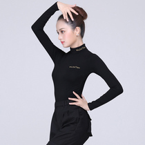 Velvet autumn and winter Latin dance long sleeve high collar male and female adult national standard dance Modern dance costume dance practice suit top