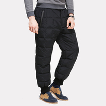 White Goose Velvet wear middle-aged and old thickening warm casual long pants