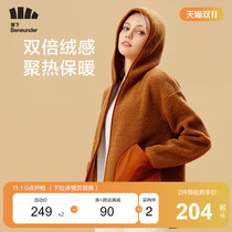 Banana fleece and velvet coat womens autumn and winter hooded tide thick loose thin fleece cashmere warm top