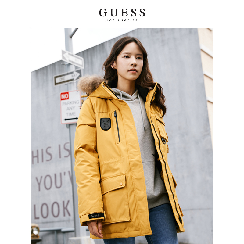 GUESS couple 2020 new winter mens and womens hooded outdoor Parker down jacket - YK0W7001CN