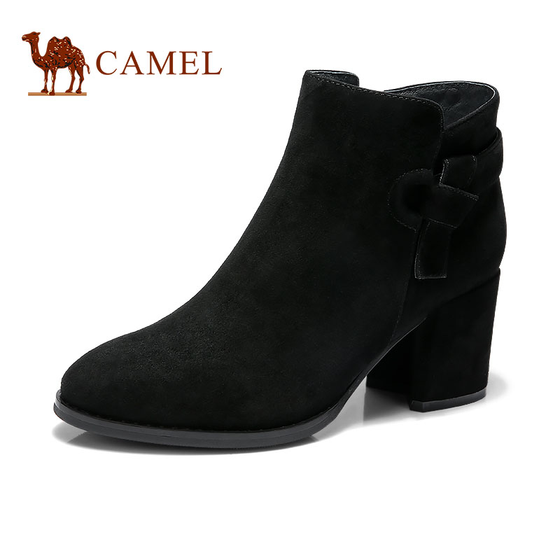 CAMEL camel women's shoes autumn new leather boots boots children thick with fashion in the thick with Chelsea boots