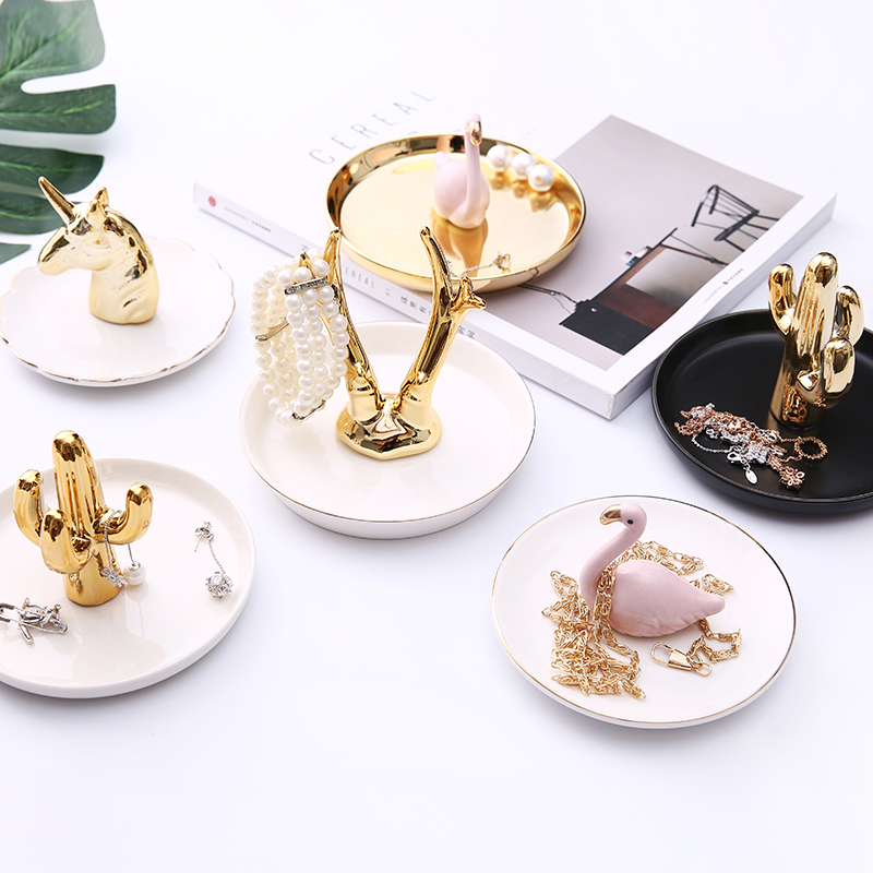 Nordic Lightweight Flamingo Jewelry Disk Dressing Table Receiving Plate Setting Ring Tray Cactus Ceramic Jewelry Frame