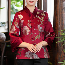 Mom Autumn New embroidery Tang dress womens Chinese style retro embroidered short coat red Chinese button top